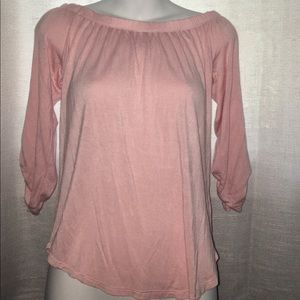 Off the shoulder pink shirt